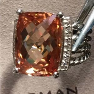 David Yurman 16x12mm Peach Morganite Diamond Ring